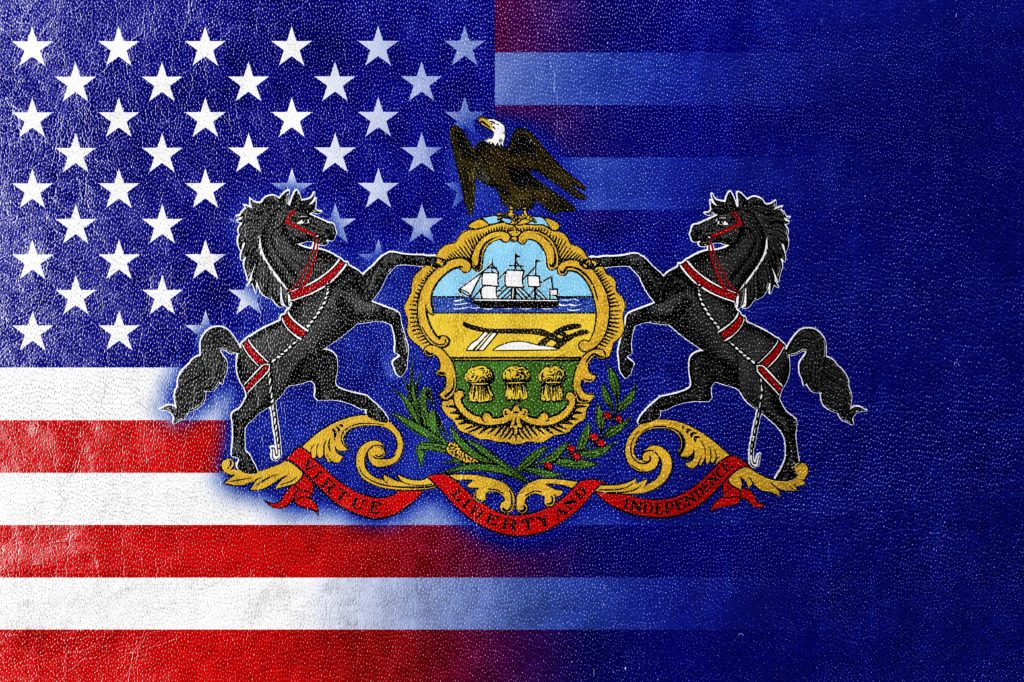 USA and Pennsylvania State Flag painted on leather texture
